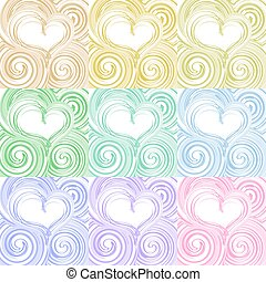 Set of hearty beautiful romantic background with swirling stripes
