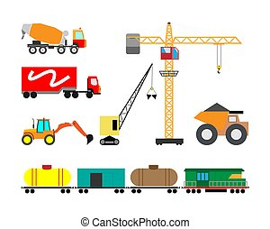 Set of heavy construction machines icons. Vector illustration of heavy equipment and machinery.