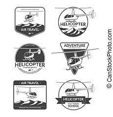 Set of helicopter logos, labels, design elements in vintage...