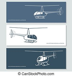 Set of helicopter silhouettes - Set of vector helicopter...