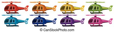 Set of helicopters in eight colors