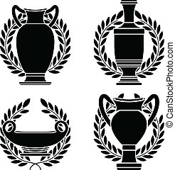 set of hellenic amphoras and vases. stencils