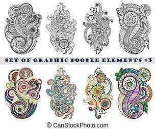 Set of Henna Paisley Mehndi Doodles Element.