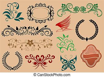 Set of heraldic and decoration symbols