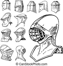 Set of Heraldic and Knight Helmets