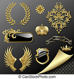 Set of heraldic elements - Set of heraldic gold and black...