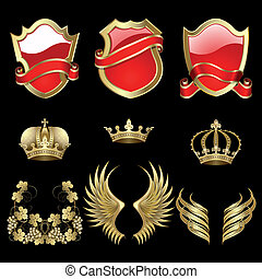 Set of heraldic gold and red design elements