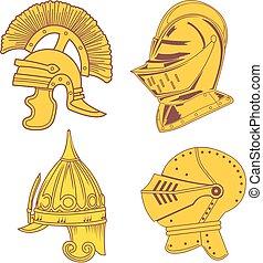 Set of heraldic helmets - medieval, ancient, oriental