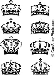 Set of heraldic royal crowns in ornate filigree calligraphic...
