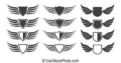 Set of heraldic shield with wings on white background, vector illustration