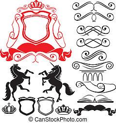 Set of heraldic silhouettes element