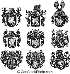 set of heraldic silhouettes No2 - Vector image of black ...