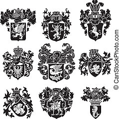 Vector image of black medieval heraldic silhouettes, executed in woodcut style, isolated on white background. No blends, gradients and strokes.