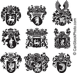 set of heraldic silhouettes No5 - Vector image of black ...