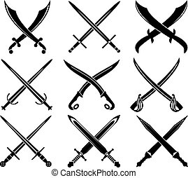 Set of heraldic swords and sabres