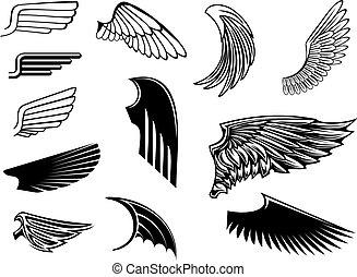 Set of heraldic wings - Set of bird wings for heraldry...