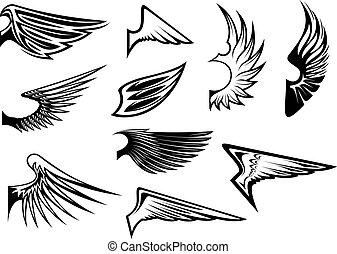 Set of heraldic wings - Set of bird wings for heraldry or ...