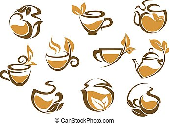 Set of herbal tea icons