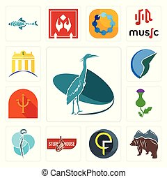 Set of heron, free bear, qf, steakhouse, neurosurgery, thistle, psi, trading co, banque icons