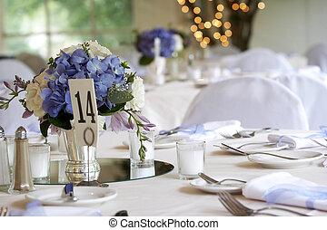 set, of, het dineren, trouwfeest, tafel, collectief,...