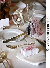 set, of, het dineren, trouwfeest, tafel, collectief, gebeurtenis