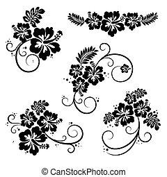 Collection of five flourish hibiscus decorative design elements. EPS10