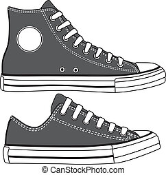 Set of high and low sneakers drawn. Vector illustration.