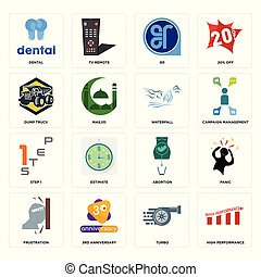 Set of high performance, turbo, frustration, abortion, step 1, waterfall, dump truck, er, dental icons