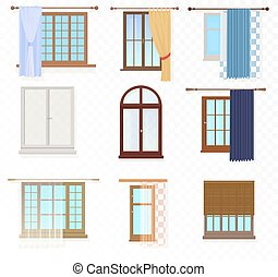 Set of high quality various Vintage Windows with curtains on the alpha transperant background.