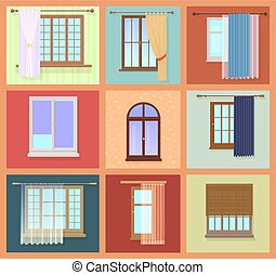 Set of high quality various Vintage Windows with curtains. Vector illustration