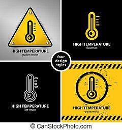 set of high temperature warning symbols