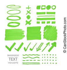 Set of highlighter marker spots and signs - Vector...