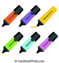 Set of highlighting pen icon, flat design