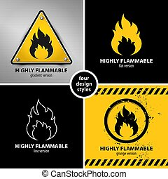 set of highly flammable warning symbols