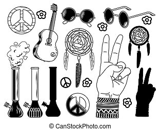 Set of hippie elements