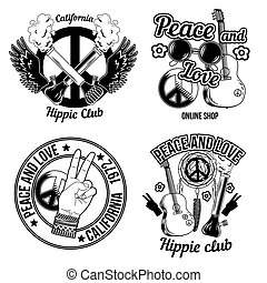 Set of hippie emblems