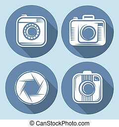 set of  hipster cameras or web icons with long shadow