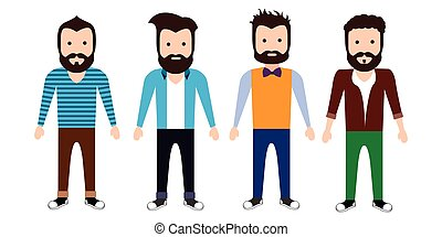 Set of hipster characters