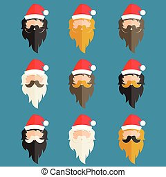 Set of hipster flat design of Santa Claus. Vector illustration