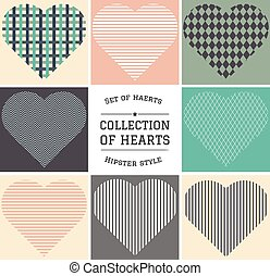 set of hipster hearts art