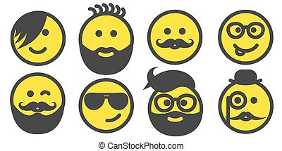 Set of hipster smiley faces