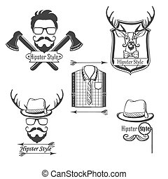 Set of Hipster style logos, badges, labels and design elements.