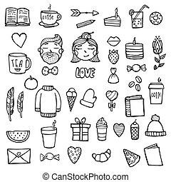 Set of hipster xmas stickers. Cute hipster man and woman face. Outline style. Vector illustration. White background.
