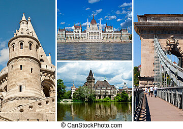Set of historical  places in Budapest city, Hungary