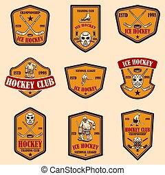 Set of hockey club emblems. Design element for logo, label, sign, poster, banner.