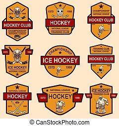 Set of hockey club emblems. Design element for logo, label, sign, t shirt, poster.