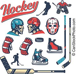 Set of hockey design elements in retro style