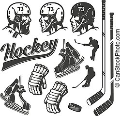 hockey design elements in vintage retro style