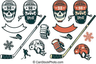 Set of hockey elements in retro style