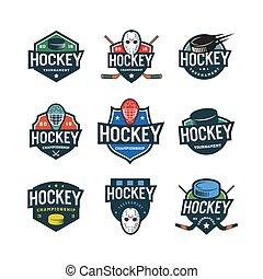 set of hockey logos. sport emblems vector illustration